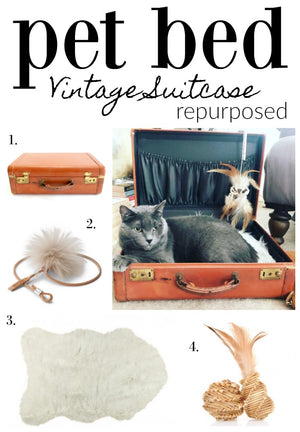 How To Repurpose A Vintage Suitcase: Upcycled Vintage Suitcase Cat Bed