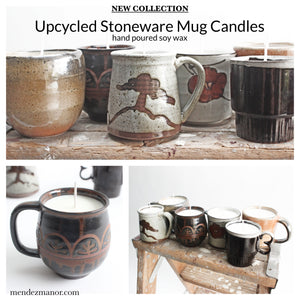 New Collection: Upcycled Stoneware Mug Candles
