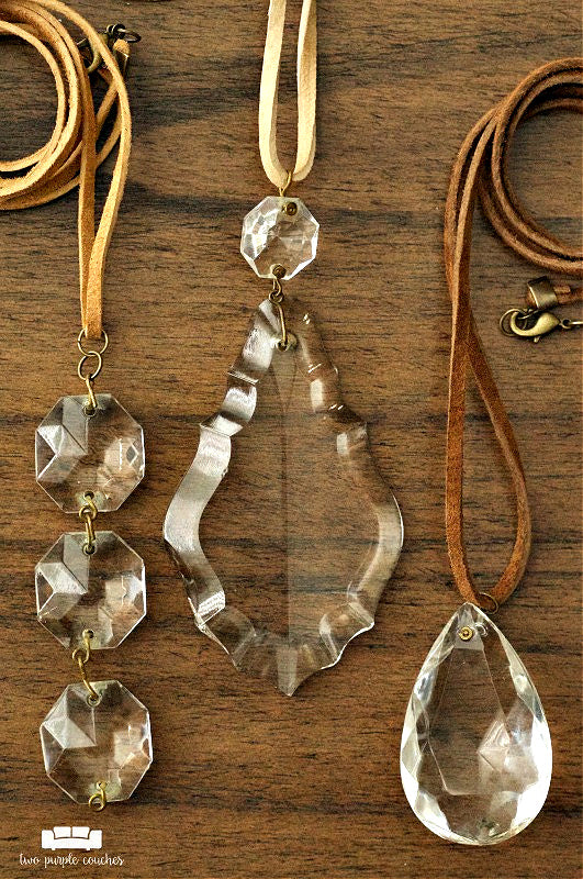 upcycled vintage chandelier crystals made into necklaces