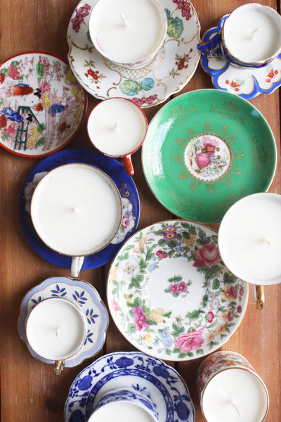 vintage teacup candle collection