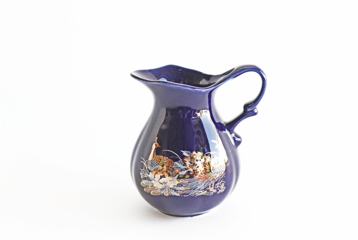 Vintage Chinese Pitcher, Cobalt Blue Ceramic Vase