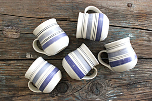 Set of 5 Large Blue & White Striped Mugs, Chunky Stoneware Coffee Mugs