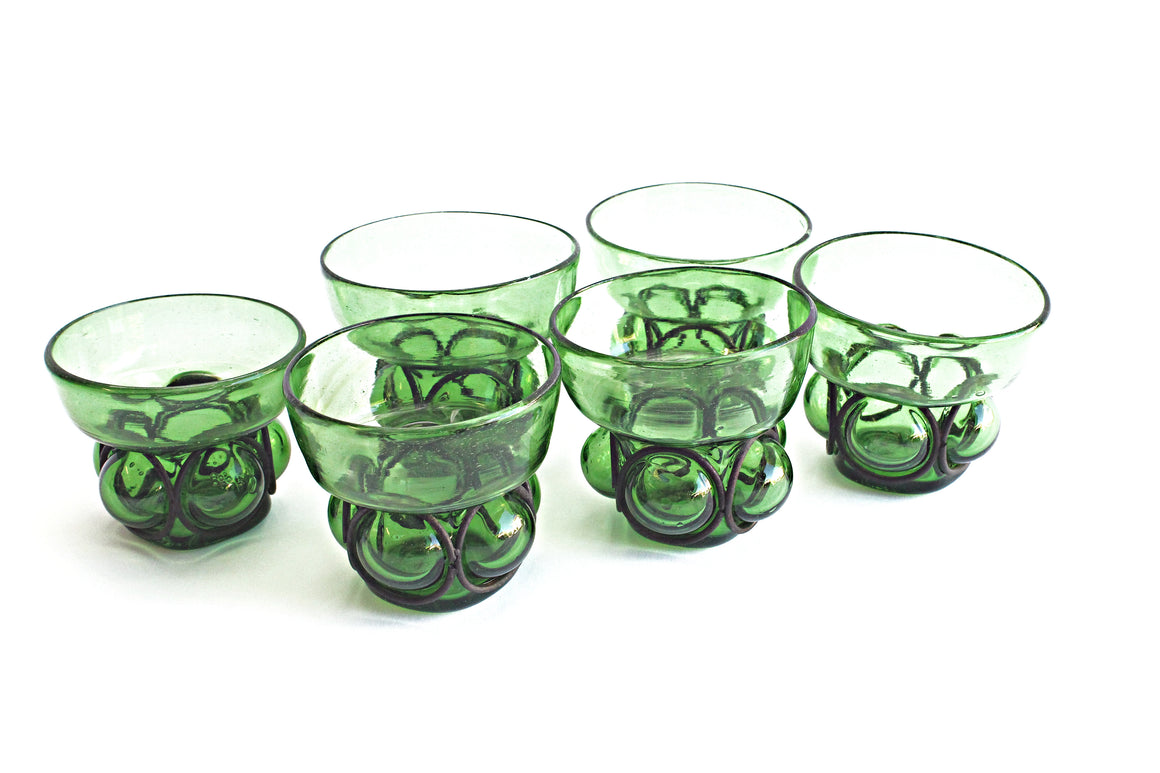 Vintage Green Drinking Glasses, Set of 6 - Hand Blown Water Tumblers