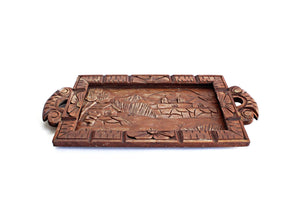 Vintage Hand Carved Wood Tray, Decorative Tray Wall Decor