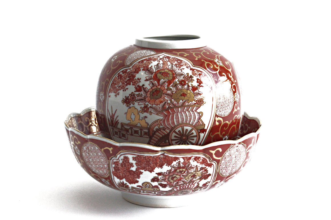 1970s Authentic Japanese Imari Ginger Jar & Decorative Matching Bowl