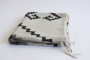 Mexican Area Rug, Small Geometric Pattern Rug, Woven Wool Accent Rug