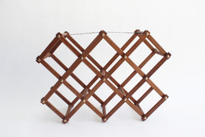 Mid Century Wooden Wine Rack, Folding Wine Rack