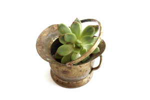 Vintage Hammered Brass Bucket, Small Indoor Planter