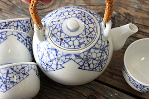 Vintage Japanese Tea Set, Blue & White Porcelain Tea Set