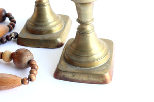 vintage upcycled home decor brass candlestick holders