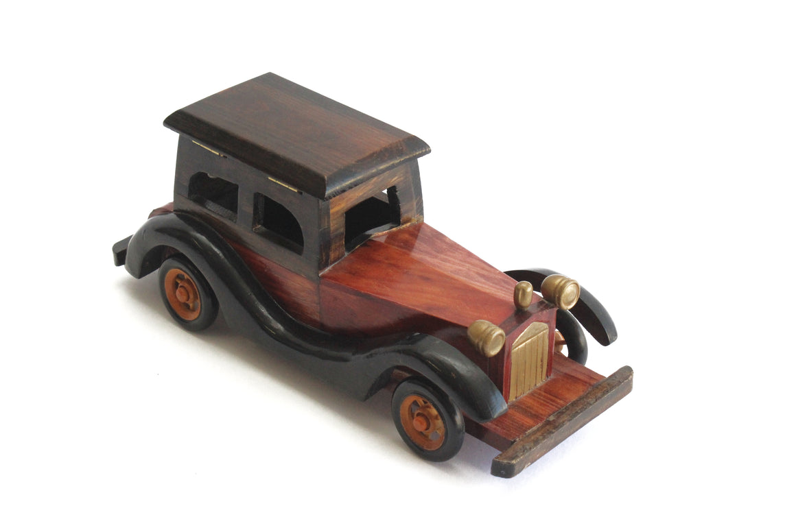 Vintage Automobile Figurine, Wooden Toy Model Car