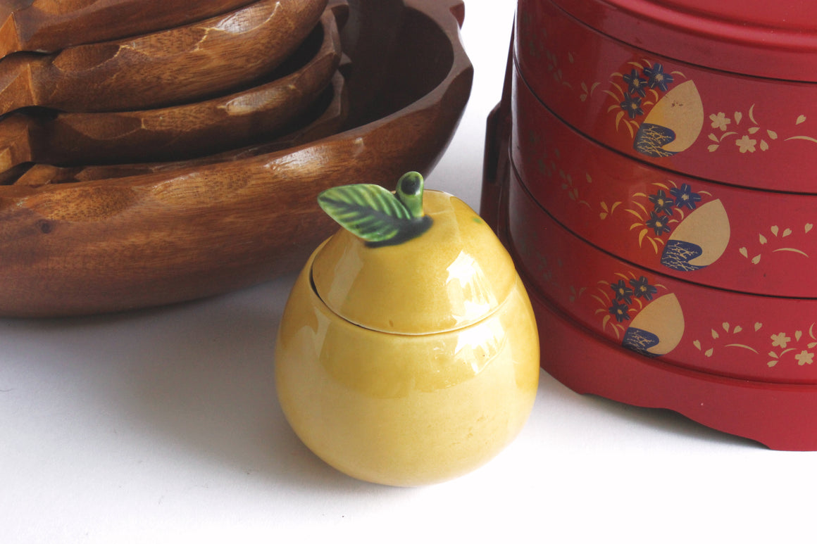 Lemon Shaped Condiment Jar, Vintage Kitchen Decor