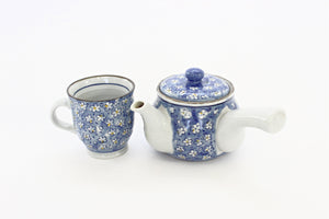 Individual Serving Teapot & Teacup, Vintage Teapot with Painted Daisies