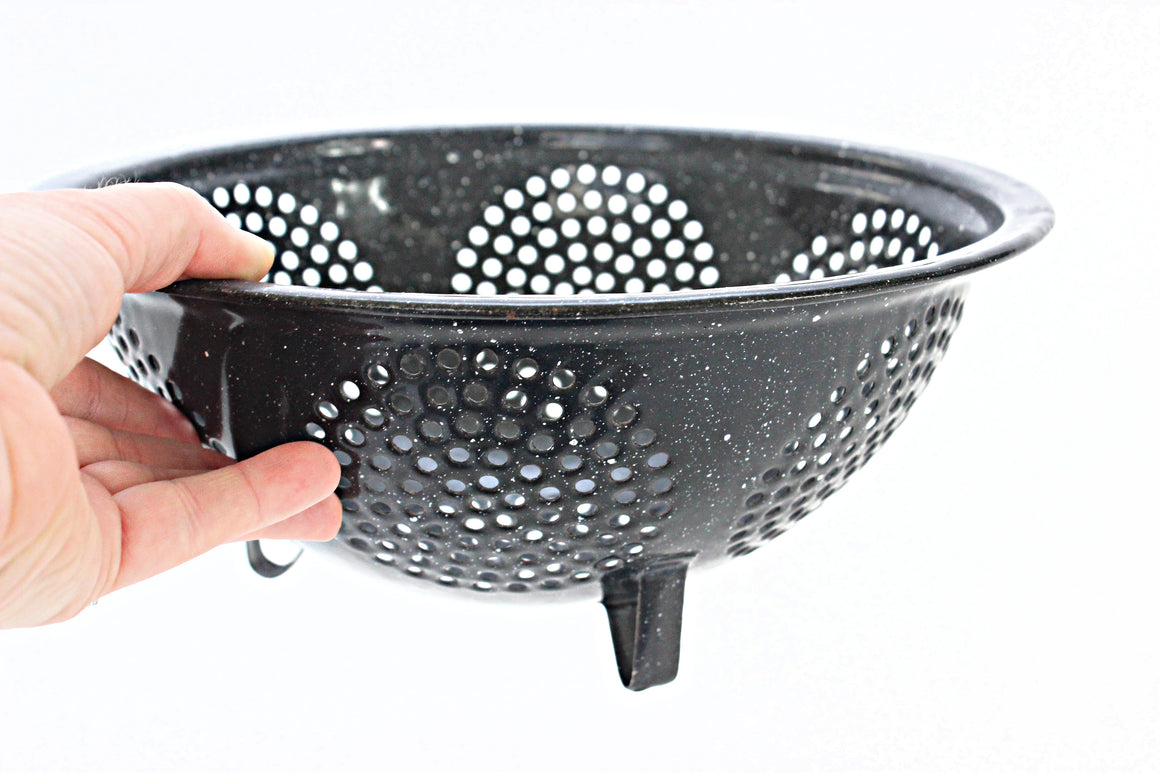 sustainable cookware vintage enamel strainer colander