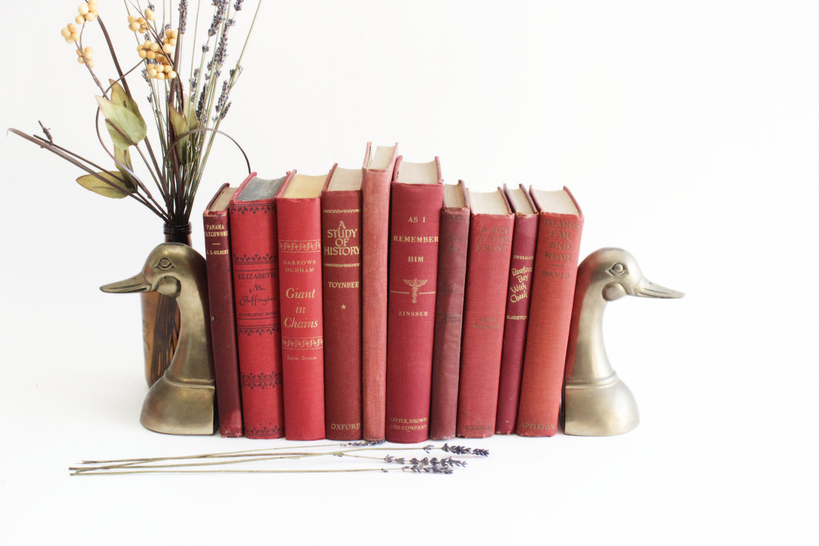 Vintage Hardcover Books, Collection of 10 Decorative Red Books, Christmas Decor