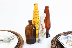Collection of Vintage Bud Vase & Bottles, Amber Glass Bottles, Choose Your Favorite