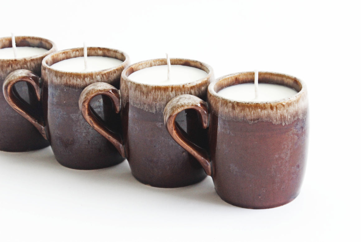 Hand Poured Mug Candle, 9oz Soy Candle in Vintage Stoneware Mug, Teakwood & Cuban Tobacco