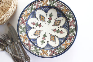 Hand Painted Moroccan Bowl, Boho Style Hanging Wall Decor