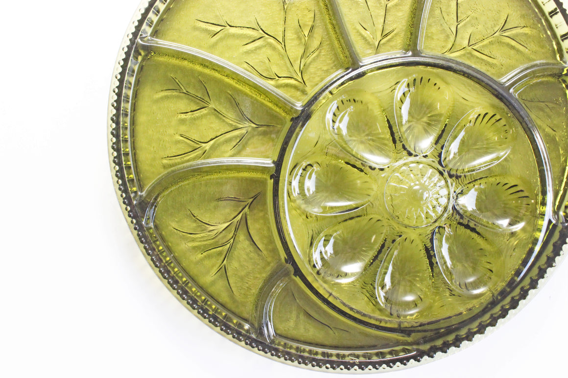 Round Appetizer Serving Plate, Deviled Egg Platter, Green Glass Holiday Servingware