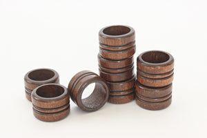 1970's Wood Napkin Rings, Set of 8 Vintage Napkin Holders