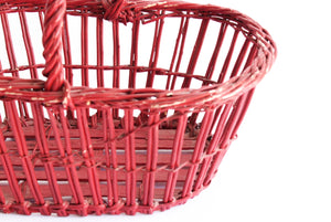 Red Wicker Basket, Rustic Farmhouse Style Storage Basket, Vintage Christmas Decor