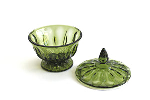 Green Depression Glass, Vintage Candy Bowl with Lid