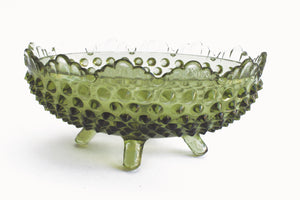 Vintage Hobnail Bowl, Green Glass Trinket Dish