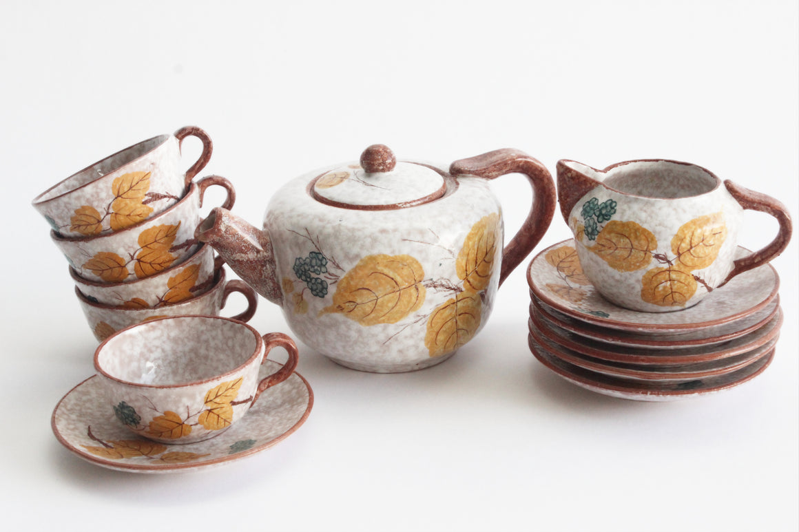 Hand Painted Tea Set, Vintage Espresso Set, Fall Table Decor