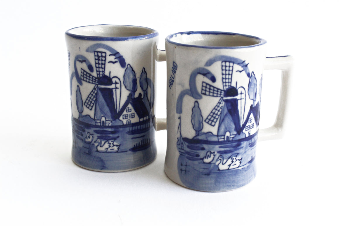 Delft Blue Hand Painted Small Mugs, Blue & White Shot Glasses