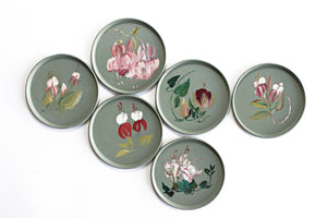 Set of 6 Hand Painted Coasters, Cottage Style Coasters with Floral Design