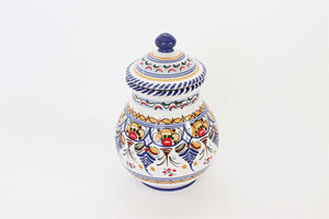 Hand Painted Ceramic Jar, Cottage Style Kitchen Decor