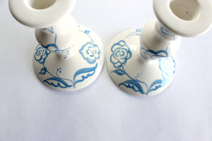 Porcelain Candlestick Holders, Hand Painted Candlestick Holders, Mother's Day Gift