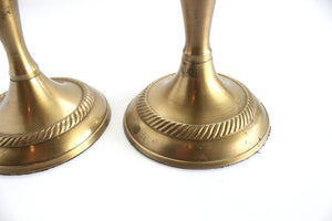 Brass Candlestick Holders, Pait of 2, Mid Century Modern Brass Candlestick Holders