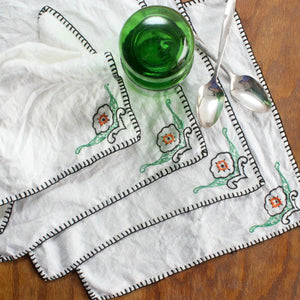 Hand Stitched Linen Handkerchiefs - Set of 4