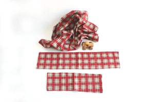 Red Flannel Baby Blanket, Plaid Baby Blanket & Burp Cloth