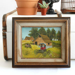 Acrylic On Canvas, Farmhouse & Carriage Scene, Framed Artwork