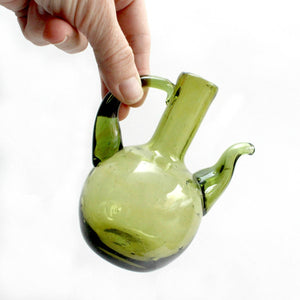 Green Glass Dressing Server, Hand Blown Cruet