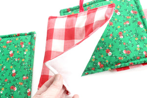 Christmas Pot Holders, Hand Sewn Vintage Fabric Hot Pads