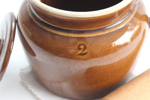 Stoneware Crock Pot, Vintage Ceramic Bean Pot