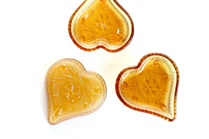 Amber Glass Hearts, Heart Shaped Jewelry Tray, Heart Shaped Dish