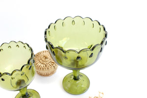 Vintage Holiday Decor, Green Glass Candy Dish, Pedestal Bowl, Mid Century Home Decor