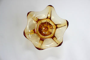Amber Glass Fruit Bowl, Mid Century Modern, Kitchen Decor