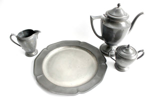 Pewter Tea Set, Coffee Pot & Creamer, Rustic Kitchen Decor