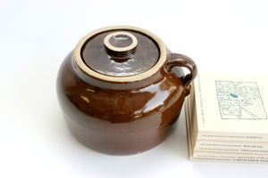 Stoneware Crock Pot, Vintage Bean Pot, Rustic Kitchen Decor