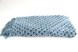 Hand Knit Wool Blanket, Square Shaped Blue Throw Blanket