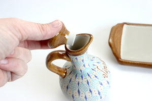 Oil & Vinegar Bottle Set, Hand Painted Pottery, Made in Mexico,