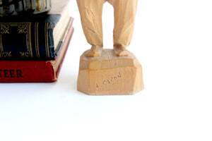 Hand Carved Wooden Figurine, Signed by Artist Paul E. Caron