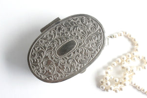 Silver Plated Jewelry Box, Oval Gift Box