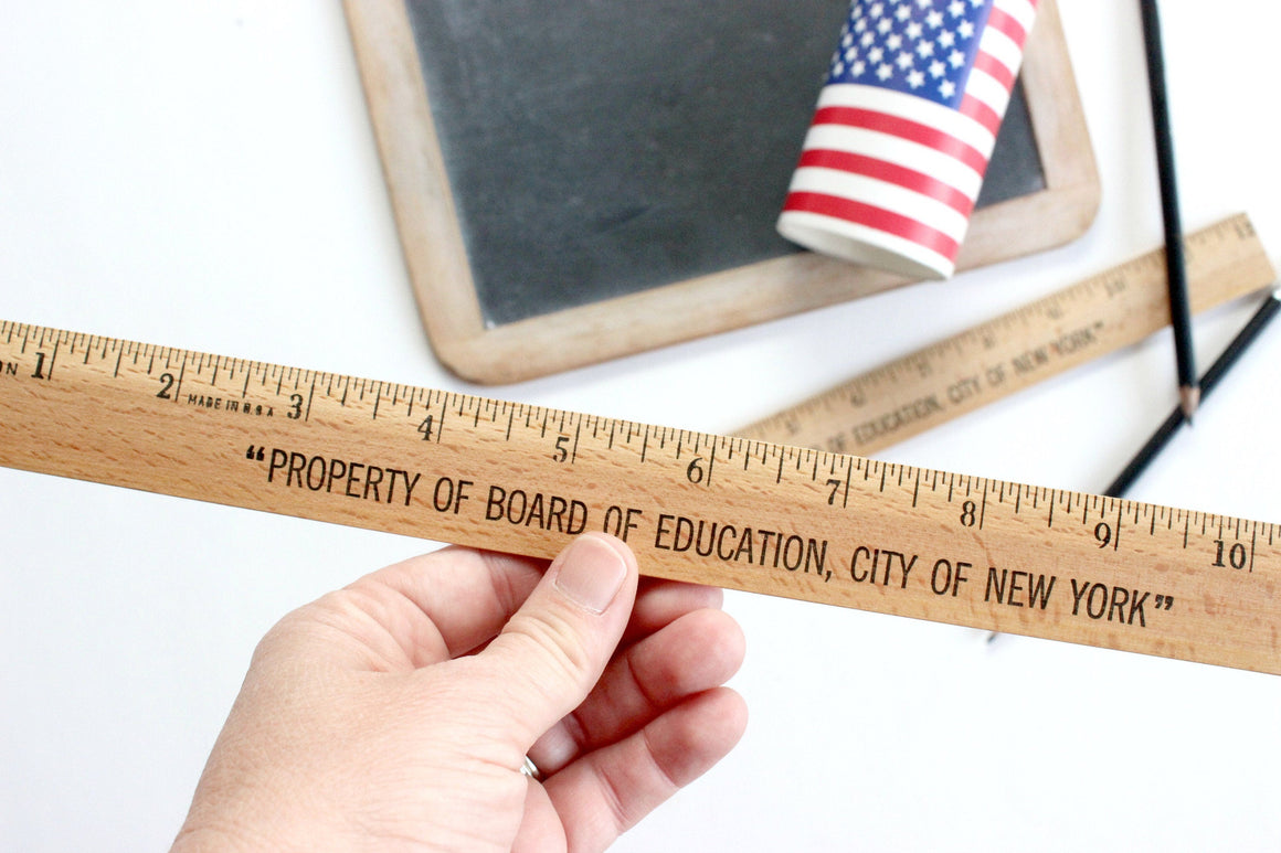 Wooden Ruler, Measuring Tool, Board of Education, City of New York