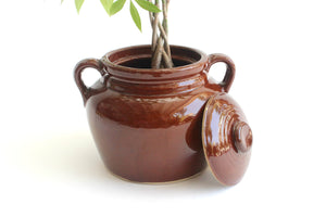 Vintage Stoneware Crock Pot, Glazed Ceramic Planter